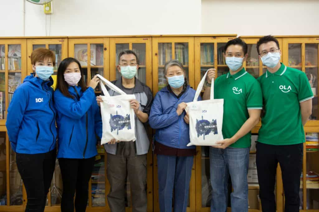 Ola Tech's founders donating masks to the elderly housing in Hong Kong